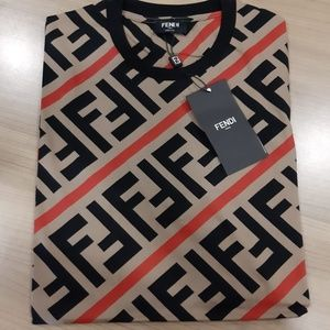 FENDI MEN'S T-SHIRT BROWN BLACK COTTON BRAND NEW